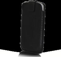 SKINNFODRAL TILL SAMSUNG S3 / S4, SVART